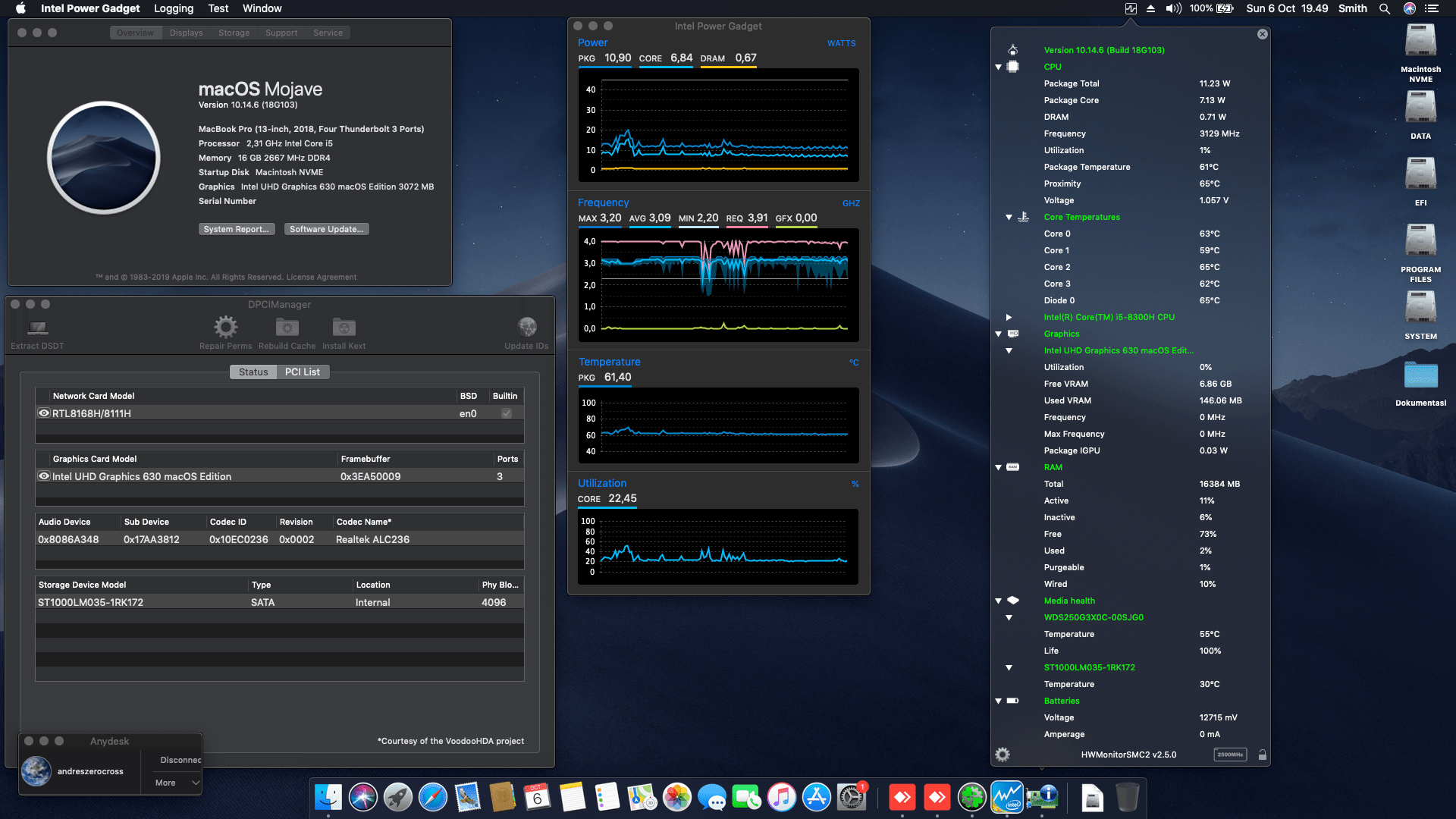 Success Hackintosh macOS Mojave 10.14.6 Build 18G103 at Lenovo Legion Y530
